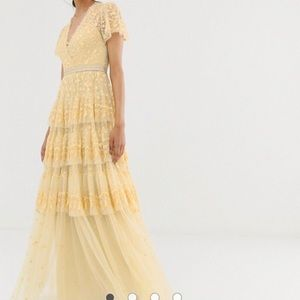 Needle & Thread lace gown in washed yellow